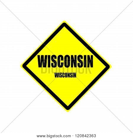 Wisconsin Black Stamp Text On Yellow Background