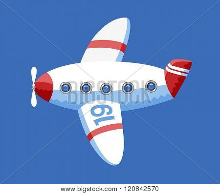 A vector illustration of the toy airplane in the blue sky. A part of Dodo collection - a set of educational cards for children.