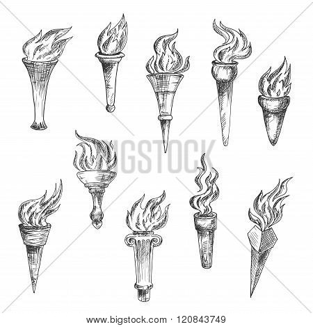 Antique flaming torches sketches set