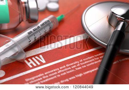 HIV. Medical Concept on Orange Background.