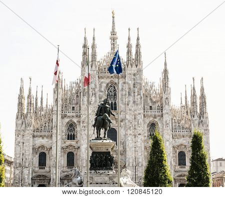Milan Cathedral (duomo Di Milano) With Statue Of Vittorio Emanuele Ii, Italy