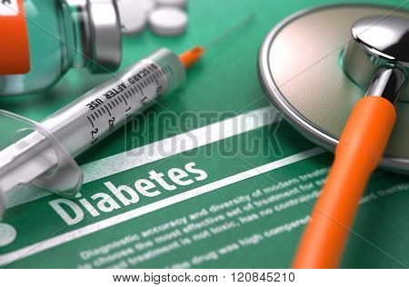 Diabetes. Medical Concept on Green Background.