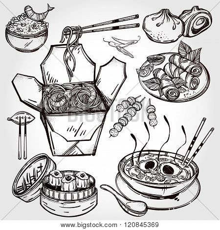 Chinese foods vector set.