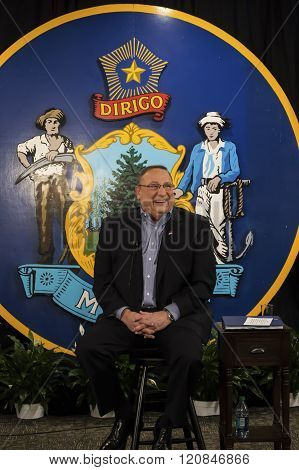 Bangor, Maine/USA-January 26: Maine Governor, Paul LePage, prepares for his first ever televised town hall meeting on January 26, 2016 on the campus of Husson University in Bangor, Maine.