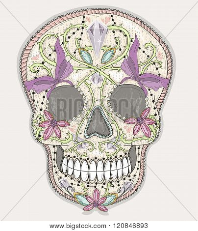 Cute mexican skull. Colorful skull with flower gem hearts and jewel ornamens. Sugar skull.