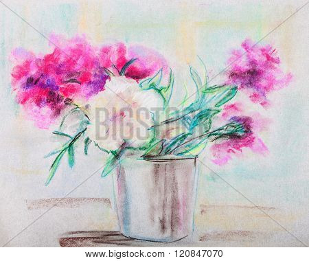 Bouquet Of Peonies In A Metal Bucket