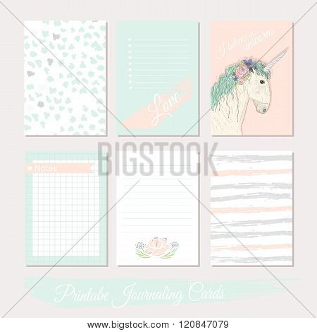 Printable cute set of filler cards with flowers unicorn polka dots stripes. Vector templates for posters flyers banner designs journal cards scrapbook planner diary journaling.