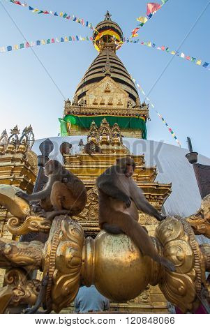 Monkeys Sitting On Swayambhunath Stupa In Monkey Temple, Kathmandu, Nepal
