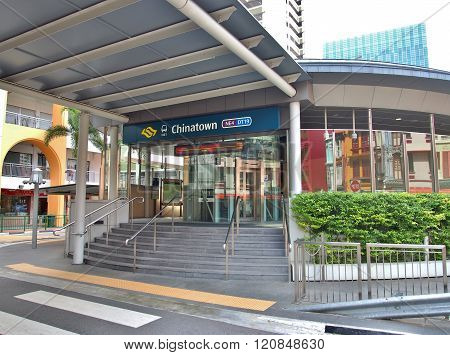 SINGAPORE - MAY 9, 2015: The Chinatown station - MRT Station at Singapore's Chinatown. The Mass Rapid Transit is a rapid transit system forming the major component of the railway system in Singapore.