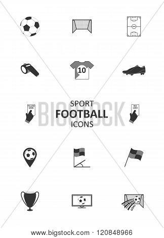 Basic soccer or football icons set.