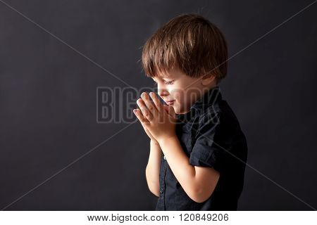 Little Boy Praying, Child Praying, Isolated Background