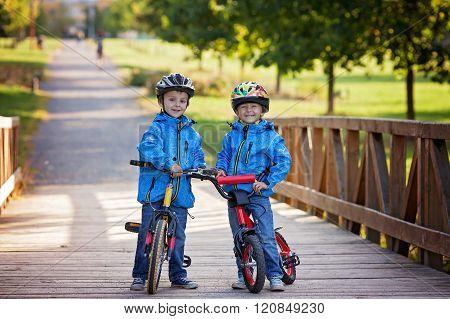 Two Cute Boys, Siblings Children, Having Fun On Bikes In The Park