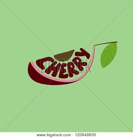Cherry. Hand Drawn Vector Illustration, Lettering. Fruit Text Composition.