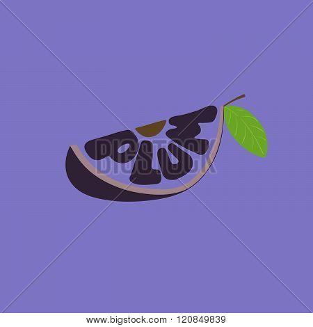 Plum. Hand Drawn Vector Illustration, Lettering. Fruit Text Composition.