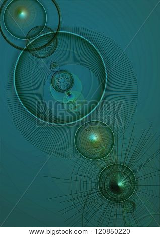 Green textured background with convex cones, transparent circles and lights