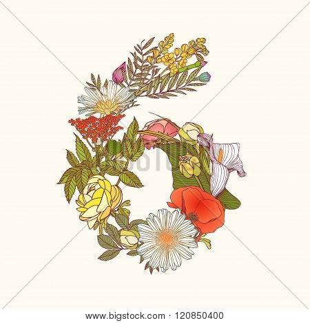 Floral Numeral Figure 6