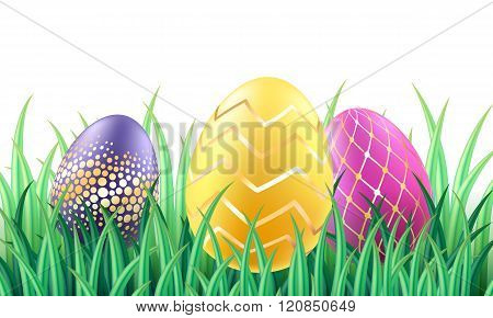 Colorful bright Easter eggs in grass background.