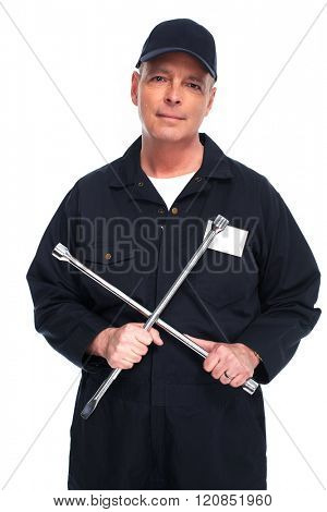 Car mechanic with a wrench.