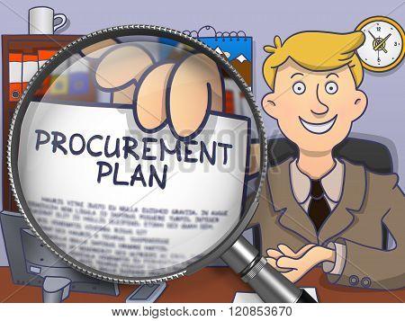 Procurement Plan through Magnifier. Doodle Style.