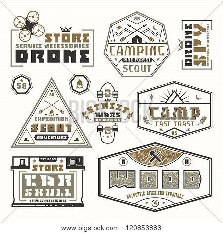 Set Of Emblems For T-shirt