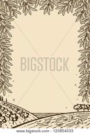 Retro olive vertical brown frame. Editable vector illustration with clipping mask.