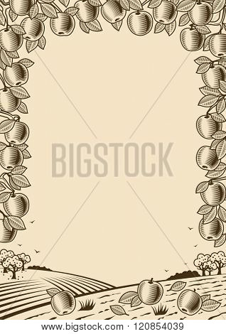 Retro apple vertical brown frame. Editable vector illustration with clipping mask.