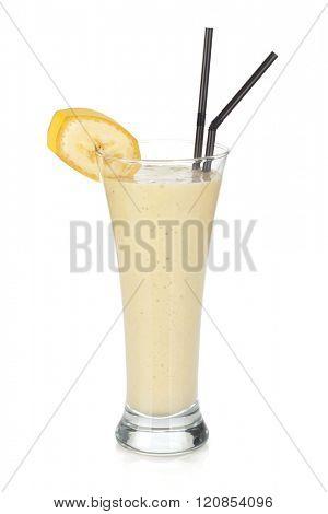 Banana milk smoothie with drinking straws. Isolated on white background