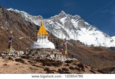 Stupa And Dingboche Village With Mount Lhotse