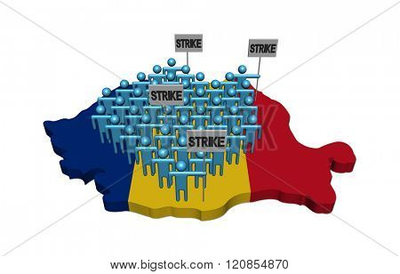 workers on strike on Romania map flag illustration