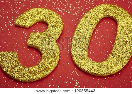 Number Thirty Yellow Color Over A Red Background. Anniversary
