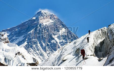 View Of Everest From Gokyo Valley With Group Of Climbers