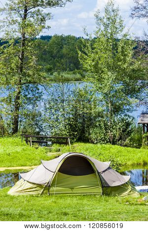 camping at lakeside, Warmian-Masurian Voivodeship, Poland