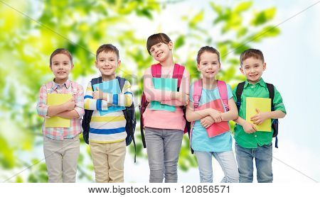 childhood, preschool education, learning and people concept - group of happy smiling little children