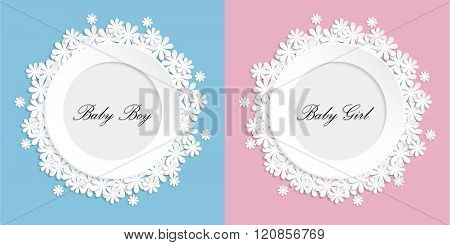 Baby Girl And Baby Boy Paper Flovers Photo Frame