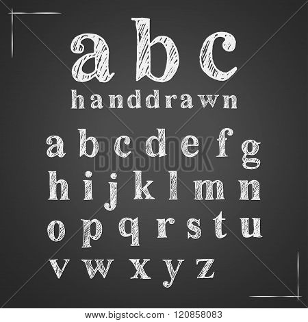 Hand Drawn Chalk English Lowercase Alphabet