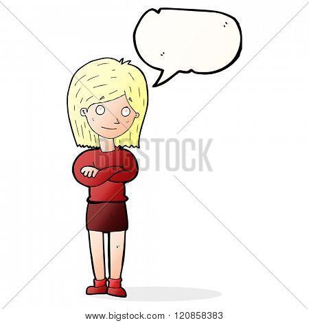cartoon friendly girl rolling eyes with speech bubble