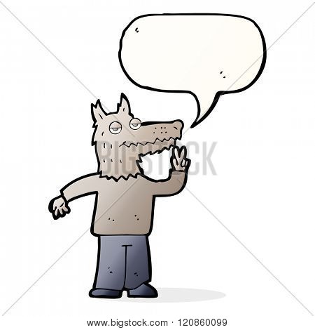 cartoon happy wolf man with speech bubble