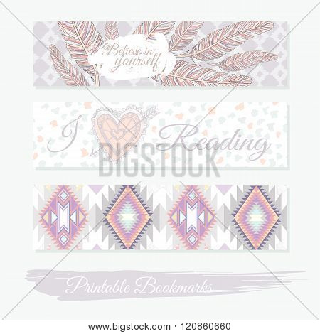 Printable bookmarks with feathers aztec pattern and heart. Vector templates for posters flyers banner designs journal cards scrapbook planner