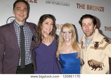 LOS ANGELES - MAR 7:  Jim Parsons, Mayim Bialik, Melissa Rauch, Simon Helberg at the The Bronze Premiere at the SilverScreen Theater at the Pacific Design Center on March 7, 2016 in Los Angeles, CA