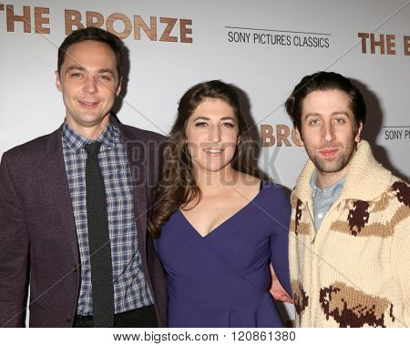 LOS ANGELES - MAR 7:  Jim Parsons, Mayim Bialik, Simon Helberg at the The Bronze Premiere at the SilverScreen Theater at the Pacific Design Center on March 7, 2016 in Los Angeles, CA