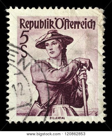 AUSTRIA - CIRCA 1948: A stamp printed in Austria shows image woman in national Austrian costumes, Ziller Valley, series, circa 1948