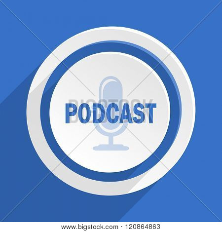 podcast blue flat design modern icon