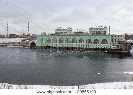 Volkhov, Russia - 23 February, Volkhov hydroelectric station, 23 February 2016.Tourist places in the great ancient route from the Vikings to the Greeks.Volkhov hydroelectric station.
