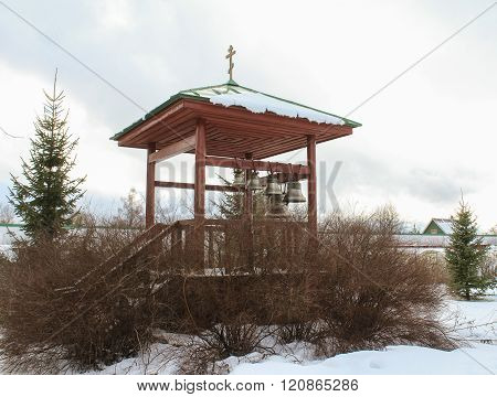 Staraya Ladoga, Russia - 23 February, Outdoor space with bells, 23 February 2016. Tourist places in the great ancient route from the Vikings to the Greeks.Staroladozhsky Holy Assumption nunnery. Gold ring of Russia.