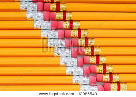 Stack of pencils with eraser good for background