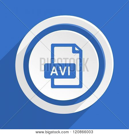 avi file blue flat design modern icon
