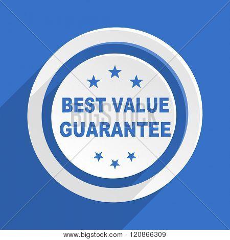 best value guarantee blue flat design modern icon