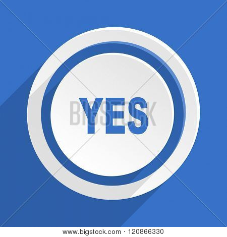 yes blue flat design modern icon