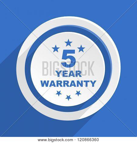warranty guarantee 5 year blue flat design modern icon