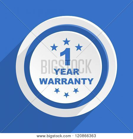 warranty guarantee 1 year blue flat design modern icon